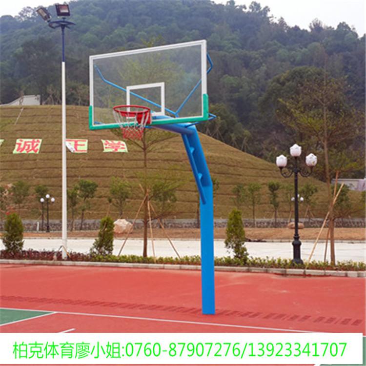 乐从学校篮球场篮球架安装,220管埋地式透明板篮球架.