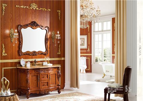 仿古实木新款落地品牌浴室柜4851 欧式浴室柜
