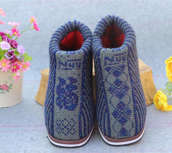 中老年保暖棉鞋手工钩制动物图案棉鞋批发