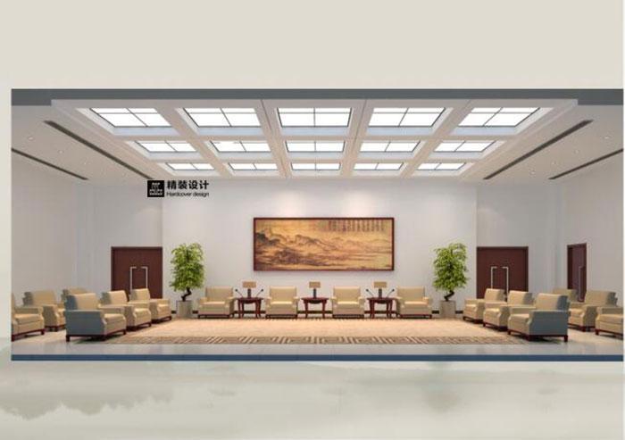 周口行政中心室内装饰设计效果图 案例说明:大厅设计重点致力于体现实用、现代、环保的人性化设计理念。主体墙为大面积的白色乳胶漆,地面采用800*800的浅灰色地砖,具有耐磨易清洁的特性,遵循简朴庄重、经济适用的原则,在视觉上给人亲民感。根据材料选用标准电梯厅入口处,用大块面浅灰色乳胶漆点缀其中。