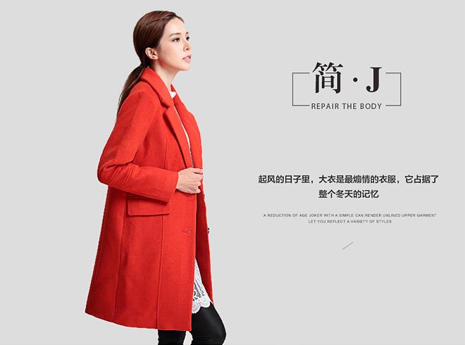 2015新款纯色毛呢大衣韩版女装厂家货源批发