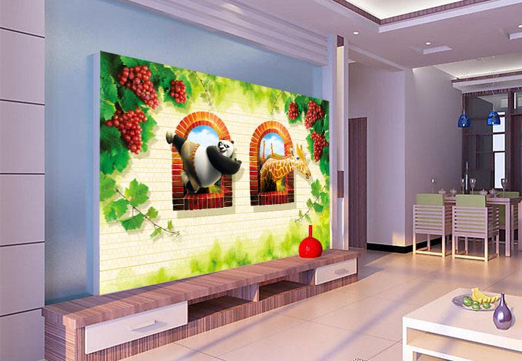 3d卡通动物 卧室沙发背景墙