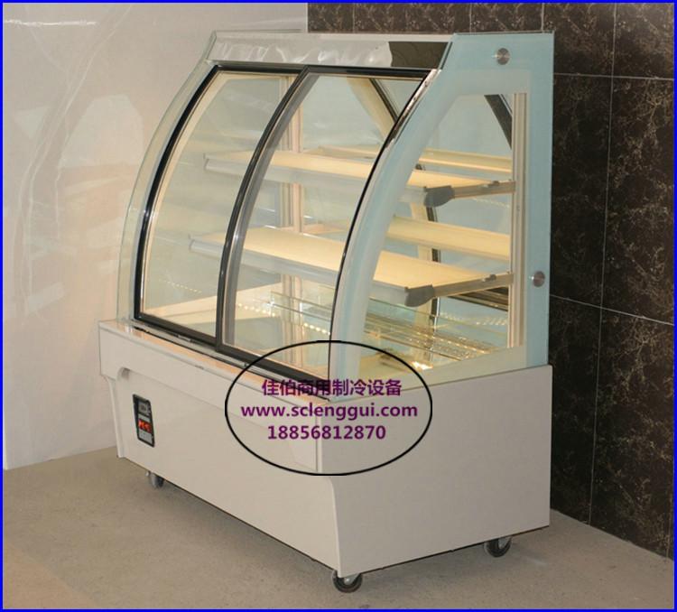 欧式前开门蛋糕柜 弧形三层蛋糕展示柜