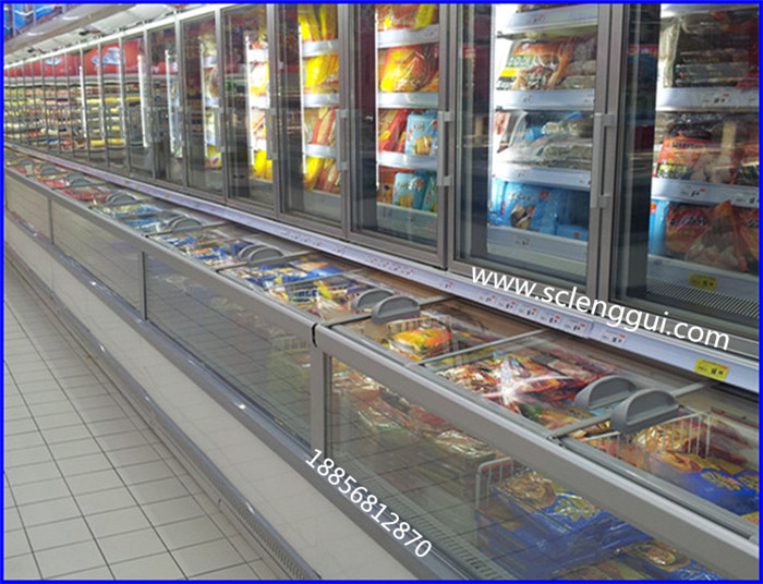 海鲜超市冷冻子母柜 冰冻海鲜展示冰柜 郑州双温子母柜价格