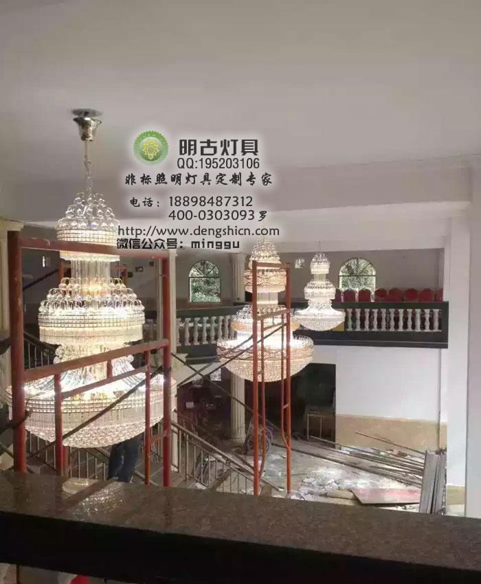 酒店大堂欧式水晶吊灯定制安装全过程展示