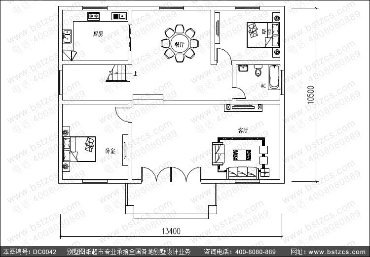 4米×10.5米新农村小别墅设计图纸_农村自建房设计