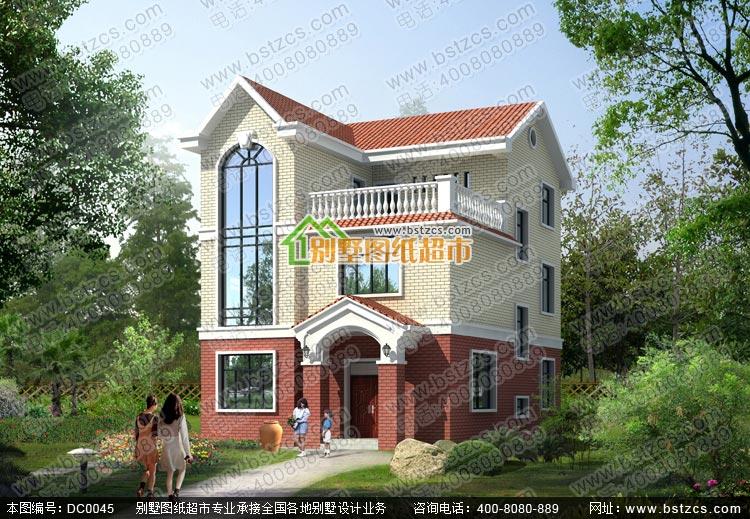 55m×11.6m新农村别墅设计图纸_三层乡村别墅图纸