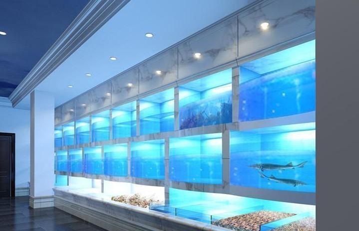 三层海鲜池安装制作,海鲜鱼池可以做成直型的吗,梯形海鲜池设计