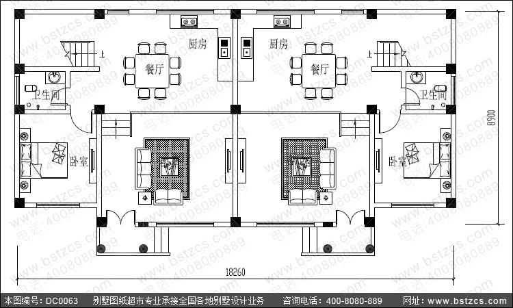 三层平屋顶双拼别墅效果图与施工图_双拼别墅设计图纸图片