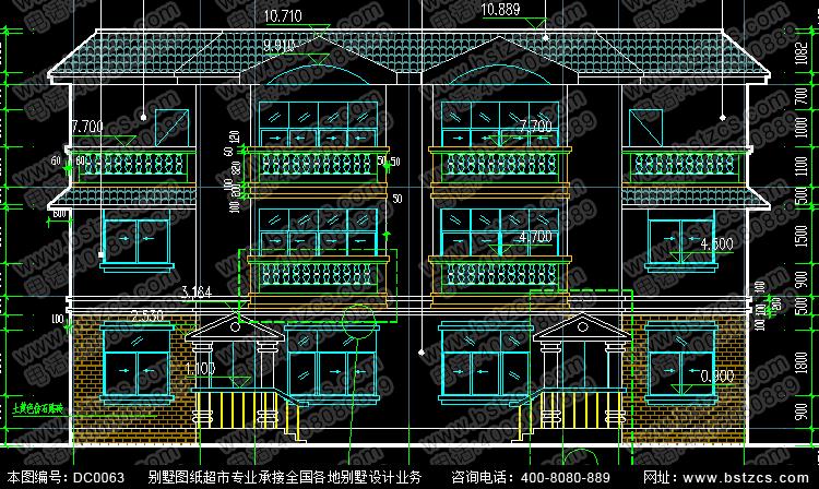 三层平屋顶双拼别墅效果图与施工图_双拼别墅设计图纸