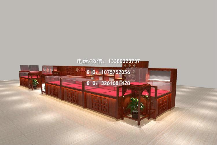 花梨木饰面翡翠展示柜,中式珠宝展柜,惠州收藏品展示柜