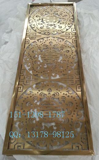 简易欧式玫瑰金不锈钢拉丝屏风厂家销售定做黑金花格