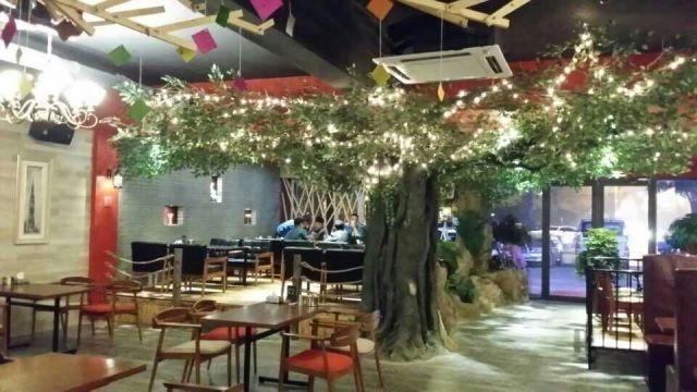 南阳生态园生态餐厅设计 塑石假山 仿木 仿真树 景观雕塑