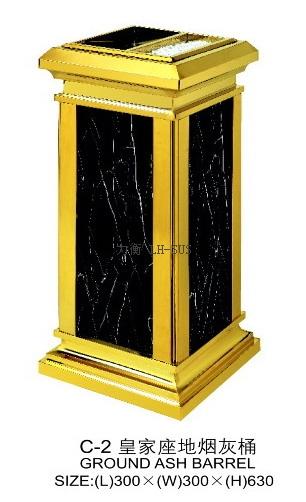 不锈钢垃圾桶生产厂家供应豪华酒店带烟灰缸欧式方形
