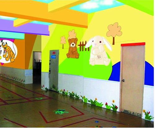 幼儿园喷绘 室内卡通壁画 幼儿园室内外卡通画