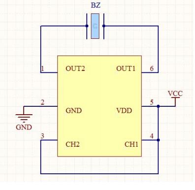 4、典型应用: a、适合3-5V工作电压的产品:典型输出频率f=4KHZ  蜂鸣器两端的电压Vp-p=2VCC,产品适合于SMT蜂鸣器和要求低工作电压、高声压输出的蜂鸣器。 b、适合压5-30V工作电压的产品:典型输出频率f=3.3KHZ  蜂鸣器两端的驱动电压Vp-p=2VCC,工作电压范围5-30V可以完全取代传统的电感升压产品,提高生产效率和产品的可靠性。 元件选择: 电阻R3、R4根据蜂鸣器电容量的大小,在输出波形良好的情况下做适 当的调整,以降低功耗;电阻 R5 依据在确保工作电压范围正常工作的