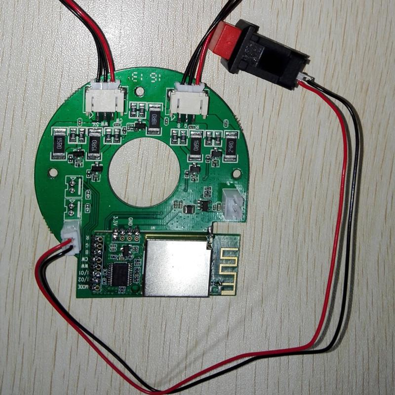 wifi远程控制开关led智能灯 手机调光调色调亮度 led灯wifi控制 led wifi模块 wifi智能led灯 wifi远程控制led智能灯开关 手机APP调光调色调亮度带特效wifi模块led灯控 LT06是我司自主研发的一款包括功能模块+驱动+灯珠的智能产品。功能模块包括WiFi通信模块以及控制模块;其中WiFi通信模块同时集成AP、STA两种工作模式,保证了设备连网的速度快,成功率高;控制模块也具备多个I/O接口用于控制与扩展。LT06的驱动模块可以用于驱动总功率3W的五色灯珠。同时LT06