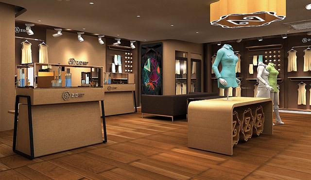 服装店装修设计师在同日月共同奋战为一份高档男士服装店装修