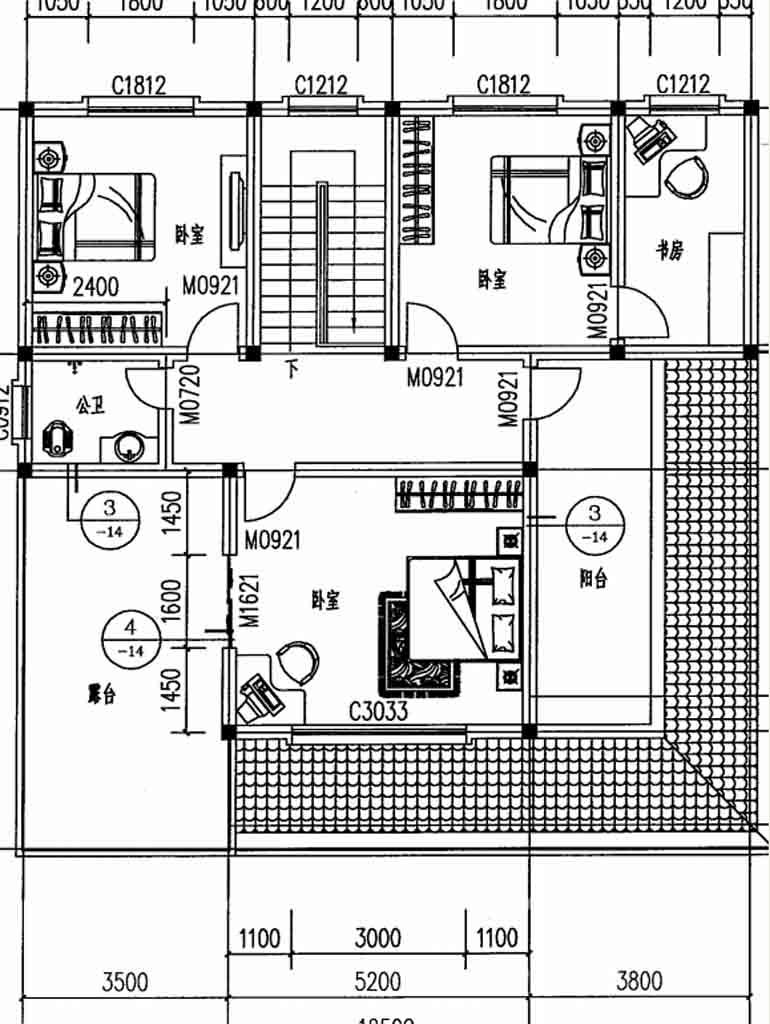 本套图纸有44张施工图和2张效果图,包打印(效果图为A4彩图,施工图为A3大图),快递包邮,无电子版。 工程概况: 建筑开间:12.5米,进深:12.7米,占地面积:158平方米,建筑面积:243平方米;建筑高度:9.32米(含屋顶)坡屋顶。结构形式:砖混结构; 设计功能: 一 层:车库、客厅、餐厅、厨房、卫生间、主卧带内卫、次卧室 。 二 层: 3个卧室、书房、阳台、卫生间、大晒台。 图纸目录: 建筑:建设设计总说明、门窗表、一层平面图、二层平面图、屋顶平面图、东立面图、南立面图、西立面图、北立面图、1