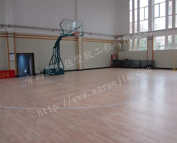 泰安木纹地板-室内篮球场塑胶地板铺装