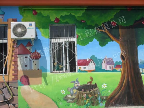 烟台教室内手绘画-幼儿园手工喷绘画