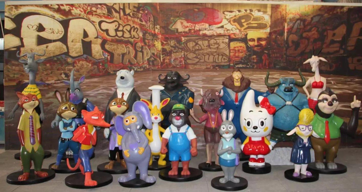 疯狂动物城模型出租朱迪尼克造型雕塑展示卡通模型