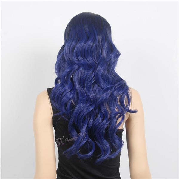 广州斯瑞泰假发制品有限公司女士假发批发高温丝长卷发蓝色图片