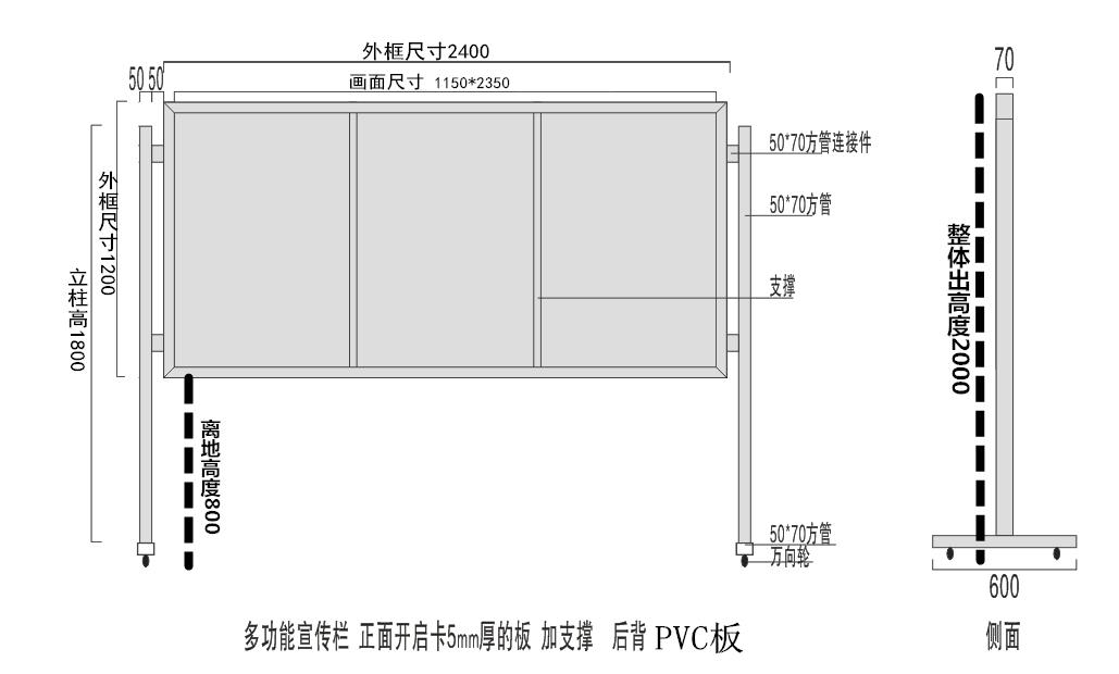 大厅落地移动报栏 开启式移动展板架