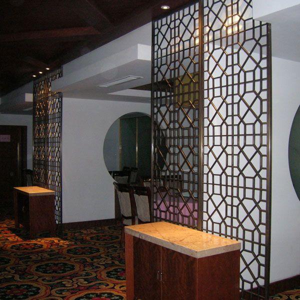 别墅铜屏风定制|卧室客厅隔断|酒店玄关|浴室铜花格|厂家