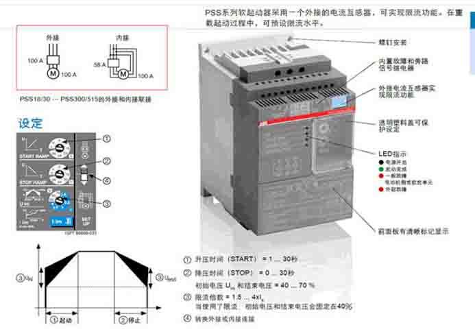 ?高灵活性: 两种接线方式,可接在三角形外部或内部,并有 限流功能。 ?容易设定: 仅用三个旋钮便可在大部分应用中设定软启动 器。 ?固态电路: 甚至在频繁启动和停止的应用场合,也可确保最 高的稳定性和最大程度减少维护。 ABB低压软启动器德国原装进口,东莞市亘佳机电华南代理,长期大量库存现货 公司 实体店同步销售,珠三角客户欢迎上门提货,电话:0769-89003122 传真:0769-23052405 连络人:李小姐18024680909 地址:东莞市莞城区香港街八达花园A5-01号 外接 In-L