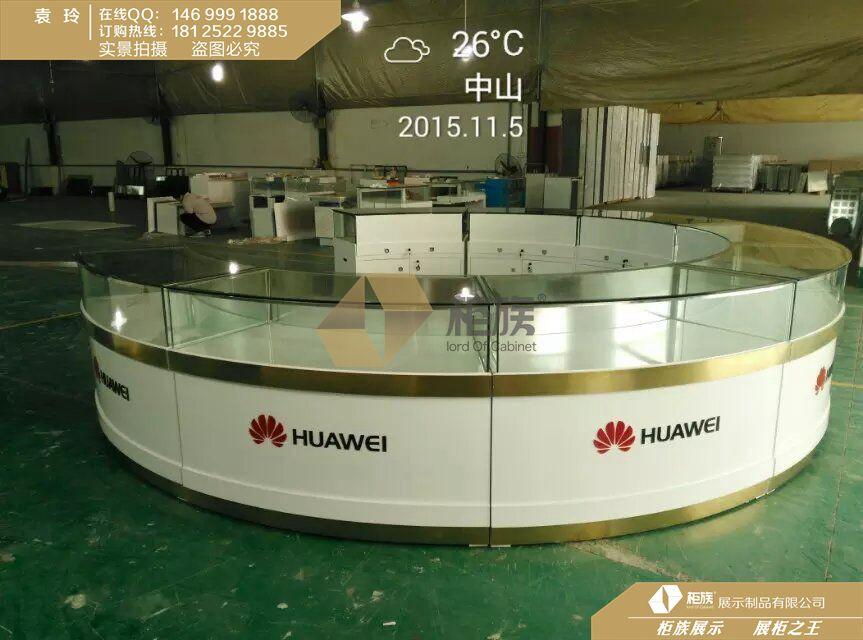 手机店圆形中岛手机柜台摆放效果图,弧形手机柜台定做