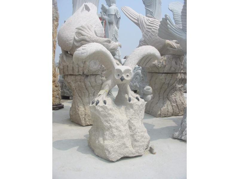 中国动物石雕厂家_精美的福建猫头鹰石雕