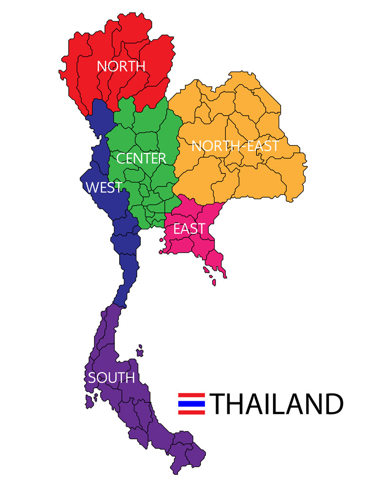泰国地图轮廓矢量图