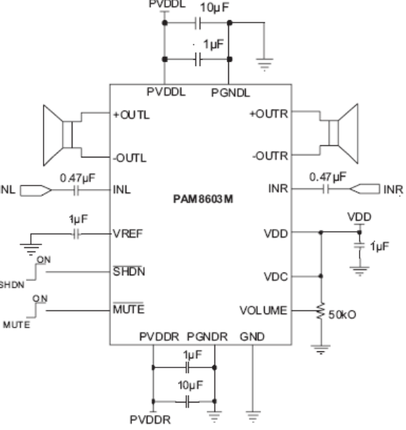 3w双声道功放ic,pam8603mder龙鼎微一级代理
