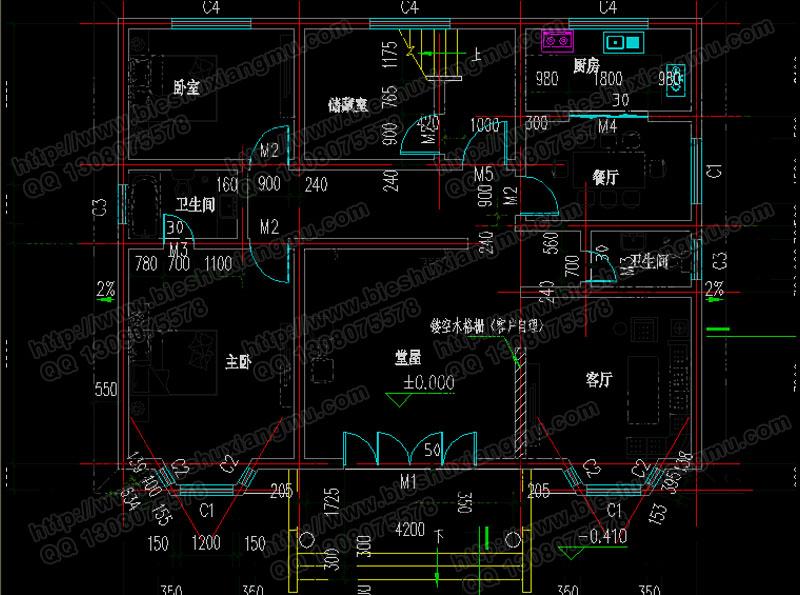 二层实用独栋别墅设计图 农村自建房设计图 工程概况: 建筑开间:13米,进深:10.6米,占地面积:137.9平方米,建筑面积:272.7平方米;建筑高度:10米(含屋顶)坡屋顶。结构形式:砖混结构; 设计功能: 一 层: 堂屋、客厅、主卧(附卫生间)、卧室、厨房、餐厅、储藏室、卫生间; 二 层: 客厅(附阳台)、主卧(附卫生间)、3卧室、卫生间; 阁 楼: 储藏间。