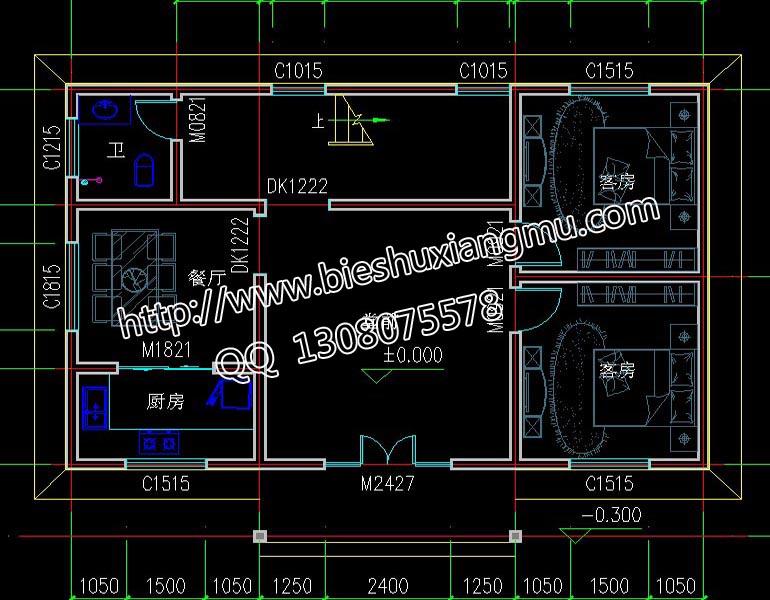 42平方米 設計功能 一層:堂屋,餐廳,廚房,衛生間,2個客房 二層:客廳帶