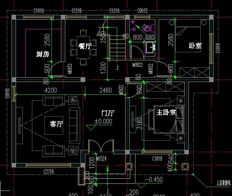 67平方米 设计功能 一层:门厅,客厅,厨房,卧室,餐厅,主卧室,卫生间