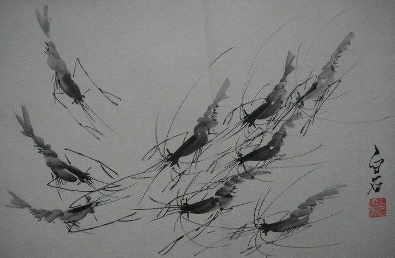 齐白石画虾的故事