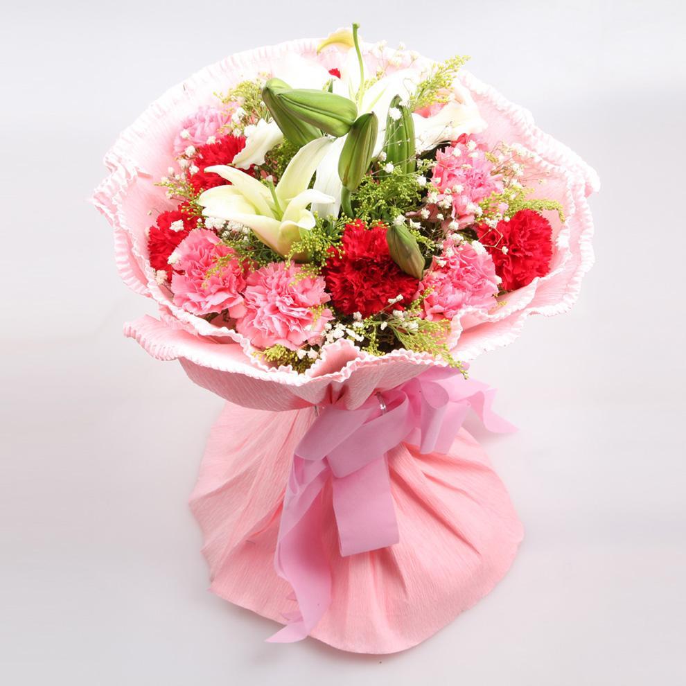 花集鲜花速递 11朵康乃馨鲜花2枝多头香水百合花束 爱在当季 生日鲜花