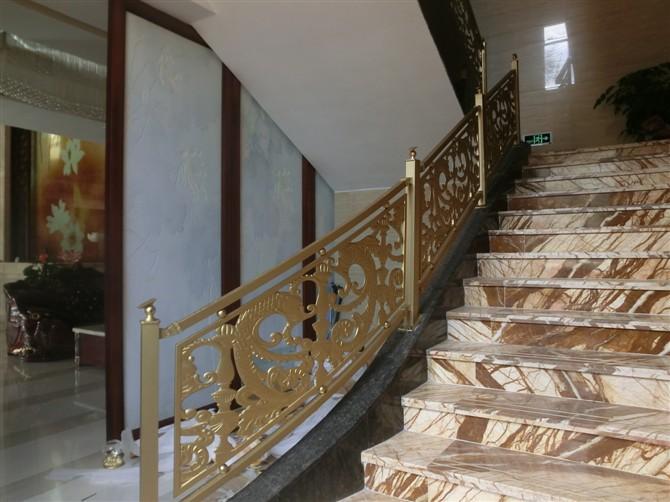 欧式别墅楼梯 弧形铝艺雕花护栏扶手 铝艺雕花扶手