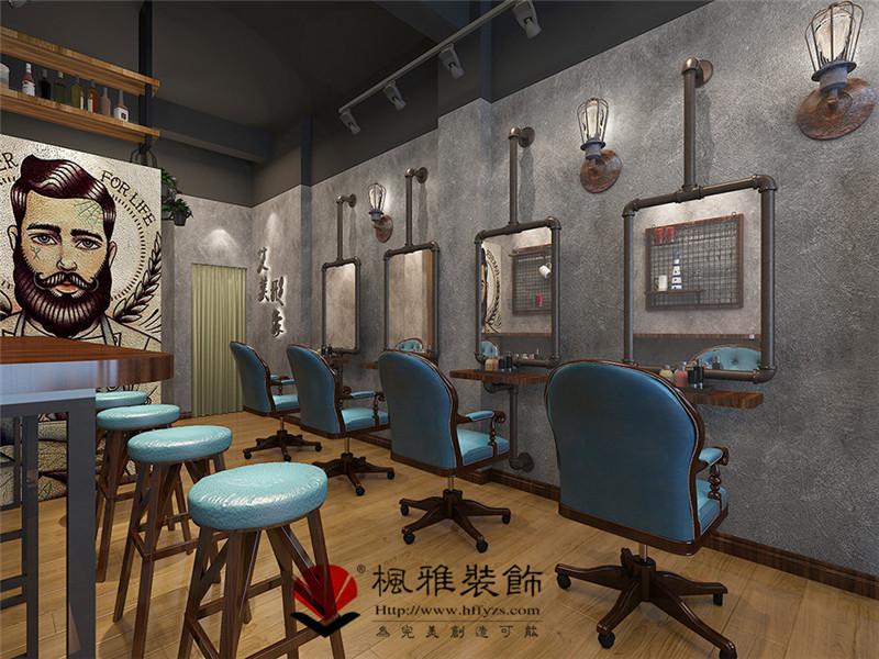 合肥美发店装修_复古风格的设计_有格调的美发店装修