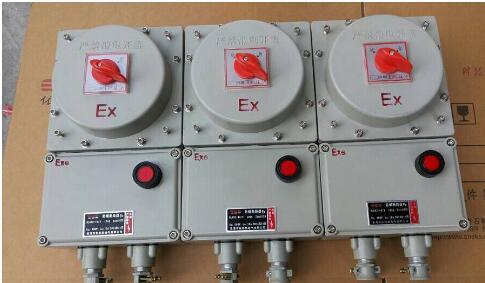 内装高分断小型漏电断路器或塑壳式漏电断路器,通过操作防爆客体外的