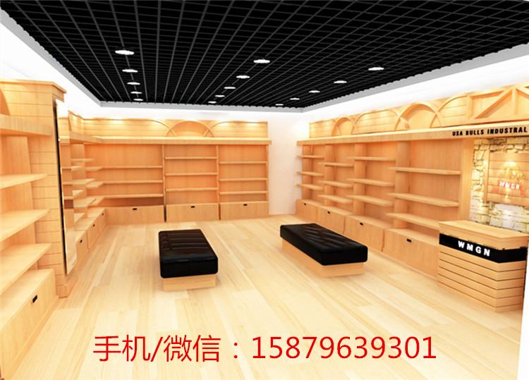 鞋子店面展示柜,根据店面的尺寸来设计柜子的款式大小,结合店铺的装修
