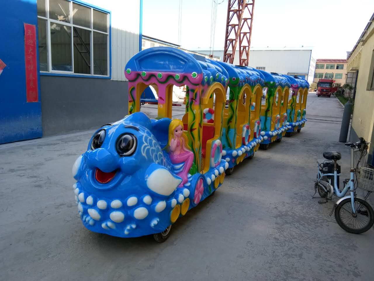 无轨海洋小火车 儿童公园广场小火车游乐设备