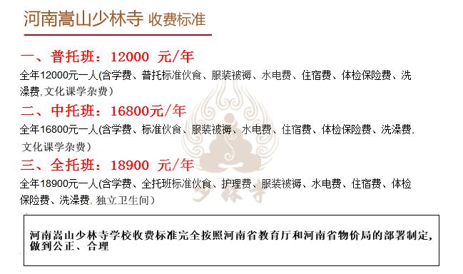 少林寺收费标准