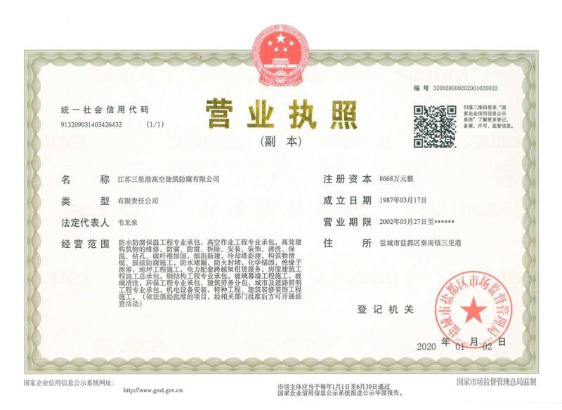 江蘇三里港高空建筑防腐有限公司