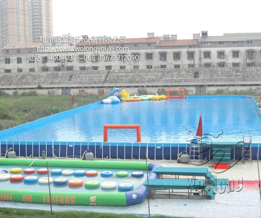 新款水上乐园设备厂家大型移动水上乐园价格支架游泳池充气游泳池