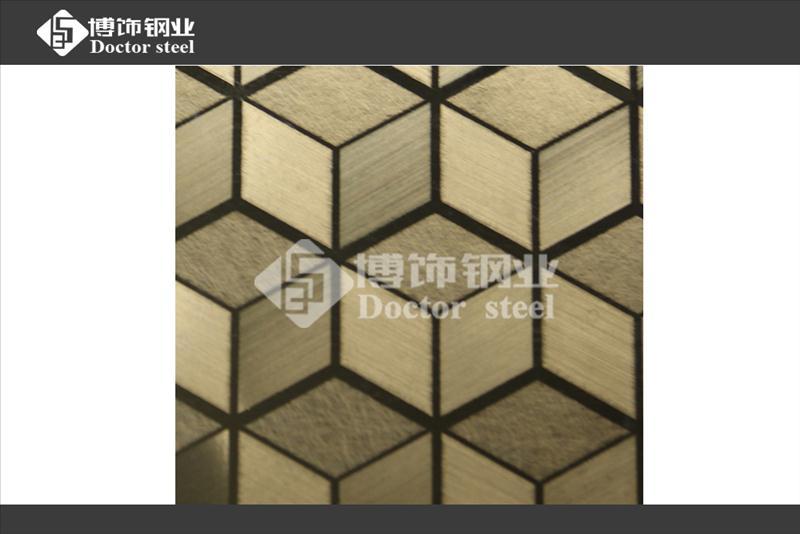 厂家直销304镜面钛金不锈钢局部拉丝局部乱纹立方体304不锈钢镜面板不锈钢镜面钛金不锈钢蚀刻立方体