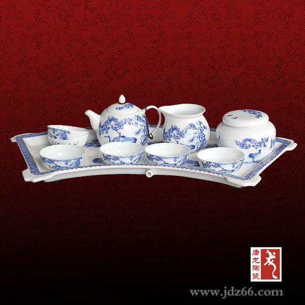 专业陶瓷手绘茶具定制厂家礼品茶具定做手绘陶瓷茶具青花瓷茶具
